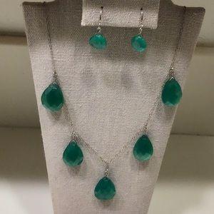 Green Chalcedony Necklace w/ Earrings